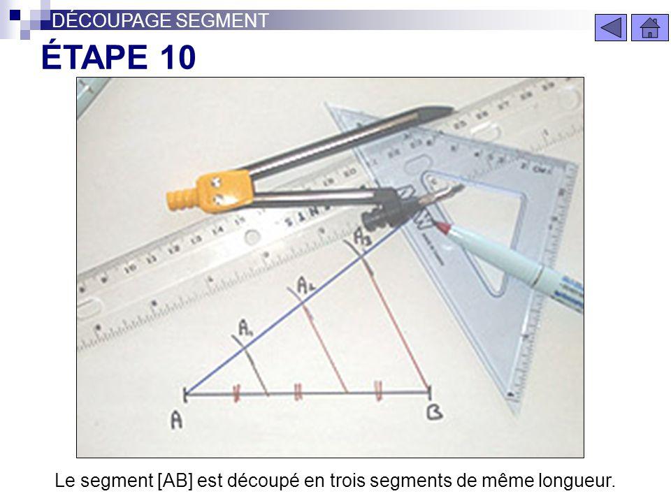 Le segment [AB] est découpé en trois segments de même longueur.